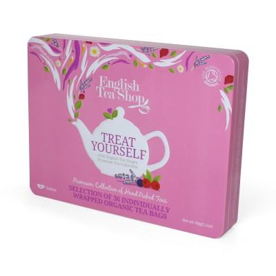 ETS 36 - Prémiová růžová dárková plechovka 36 bio sáčků čaje