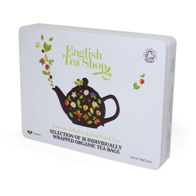 ETS 36 - klasická bílá plechová kazeta 36 bio sáčků čaje