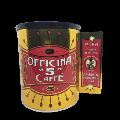 """Officina """"5"""" caffé Intenso Moka mletá káva plech. dóza 250g"""