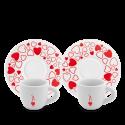Bialetti set 2 šálků s podšálky srdce