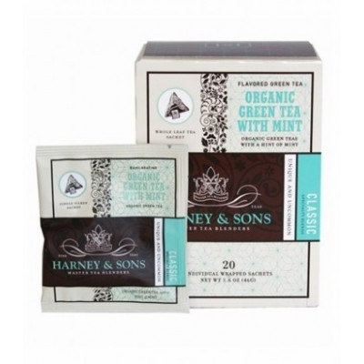 Harney & Sons čaj Organic zelený čaj s mátou - Wrapped sachets