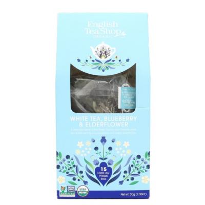 English Tea Shop Bílý čaj, borůvka a bezinka 15 biologicky odbouratelných pyramidových sáčků