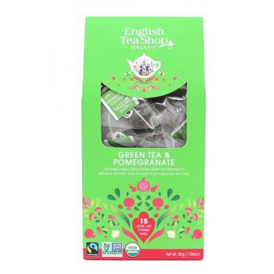 English Tea shop zelený čaj s granátovým jablkem. Balení 15 pyramidek v biologicky odbouratelných sáčcích.