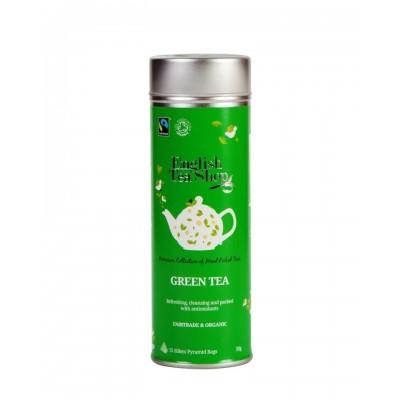 English Tea Shop Čistý zelený čaj - plechovka s 15 bioodbouratelnými pyramidkami