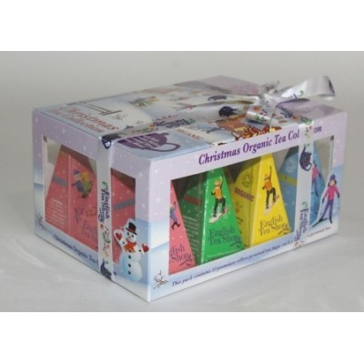ETS Dárková krabička čajů Vánoční lyžaři a sáňkaři s 12 Pyramidkami