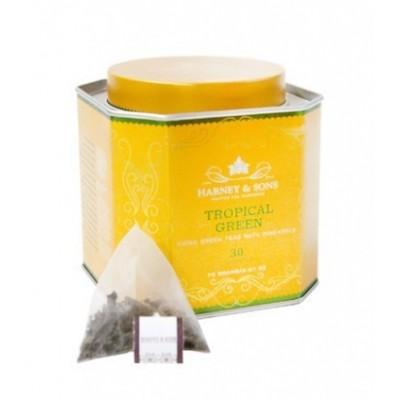 Harney & Sons Tropický zelený čaj 30 hedvábných pyramidiálních sáčků v plechové dóze