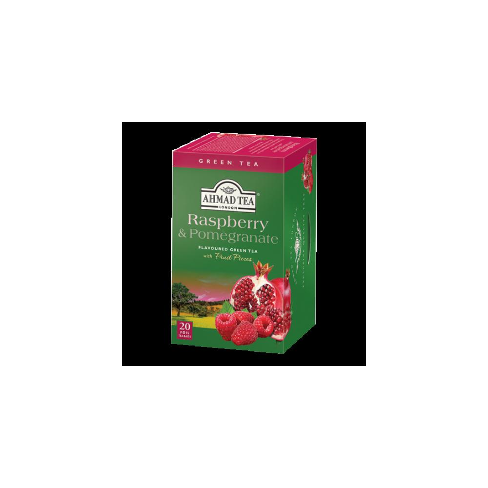 Ahmad Tea Zelený čaj s malinou a granátovým jablkem 20 x 2 g