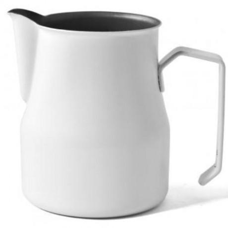 Džezva na zpěnění mléka Motta 0,75 l z nerezové oceli s povrchovou úpravou Teflon Bílá