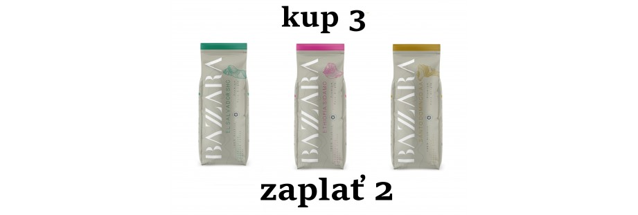 Jednodruhová kvalitní káva Bazzara v akci 2+1 zdarma